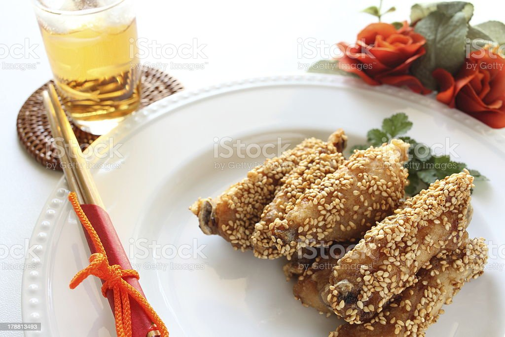chinese food, sesame chicken royalty-free stock photo