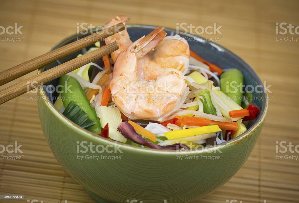 Chinese food - shrimp and rice noodle stir fried stock photo