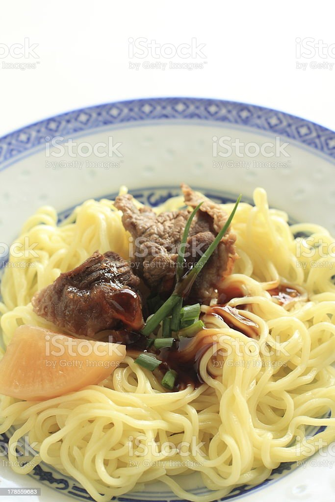 chinese food, simmered beef tendon with seasoning on noodles royalty-free stock photo