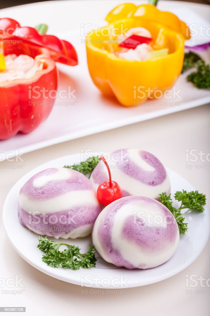Chinese food steamed steamed bread stock photo