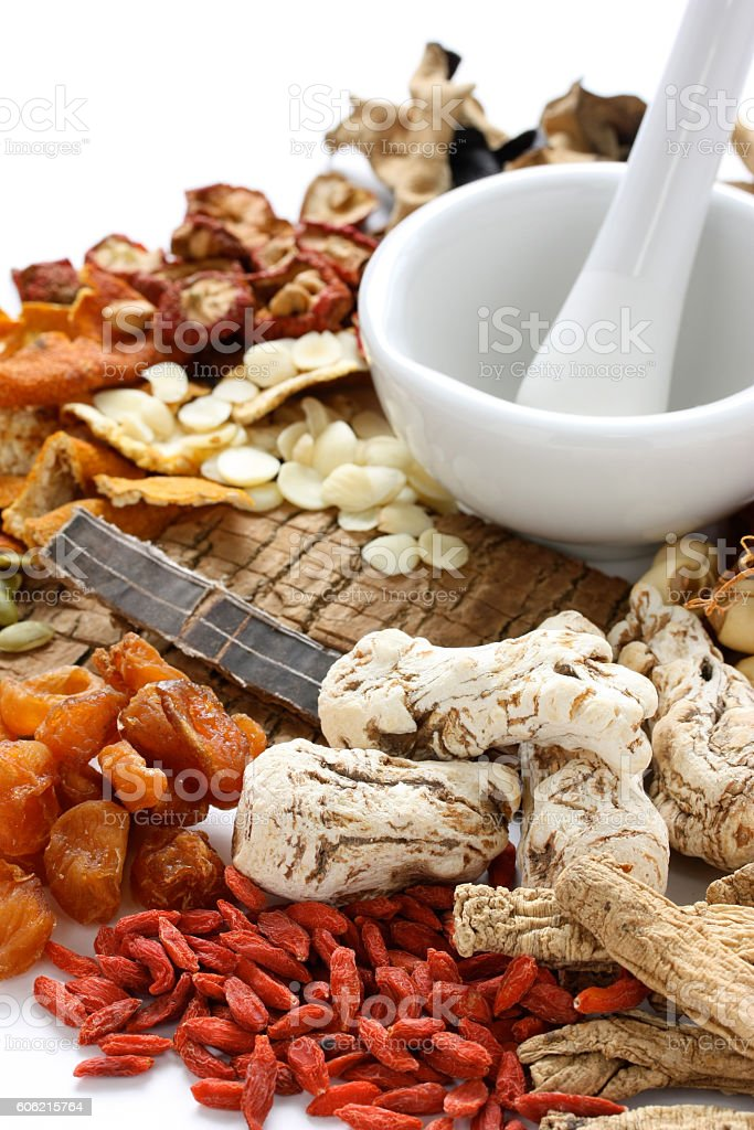 chinese food therapy, traditional chinese herbal medicine stock photo
