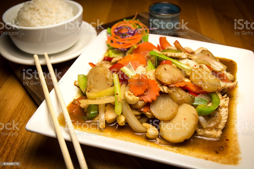 Chinese Food Vegetable Dish With Side Steamed Rice Saki stock photo