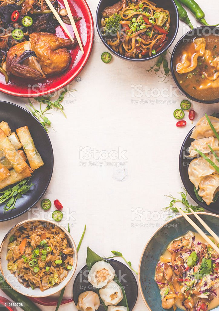 Chinese food white background stock photo