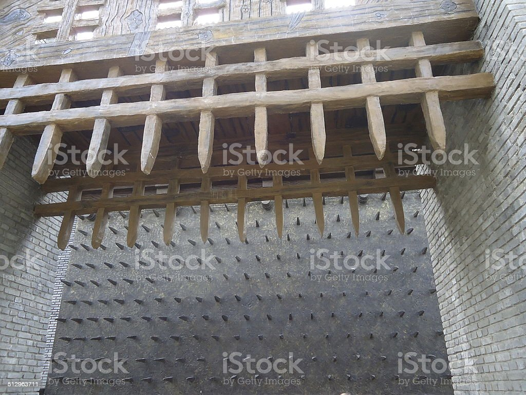Chinese fortress spikes. stock photo