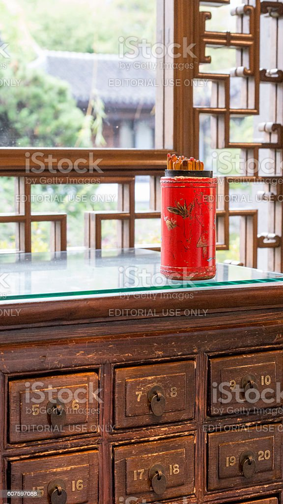 Chinese Fortune Sticks Desk Lan Su Chinese Garden Portland Oregon stock photo