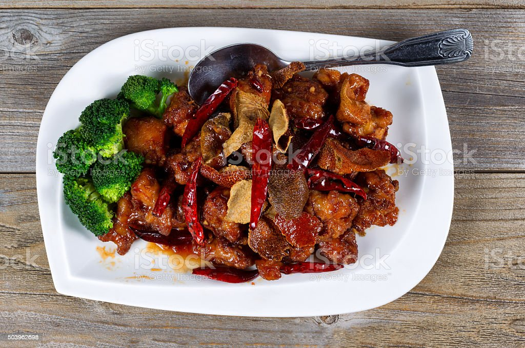 Chinese fried juicy tofu and broccoli dish ready to eat stock photo