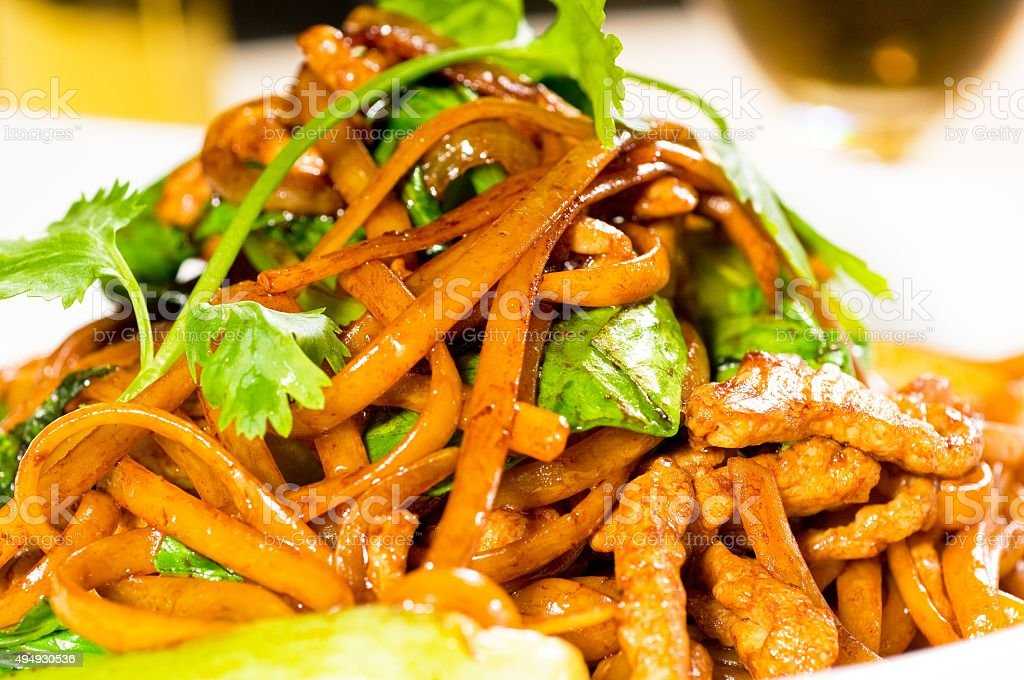 chinese fried noodles stock photo