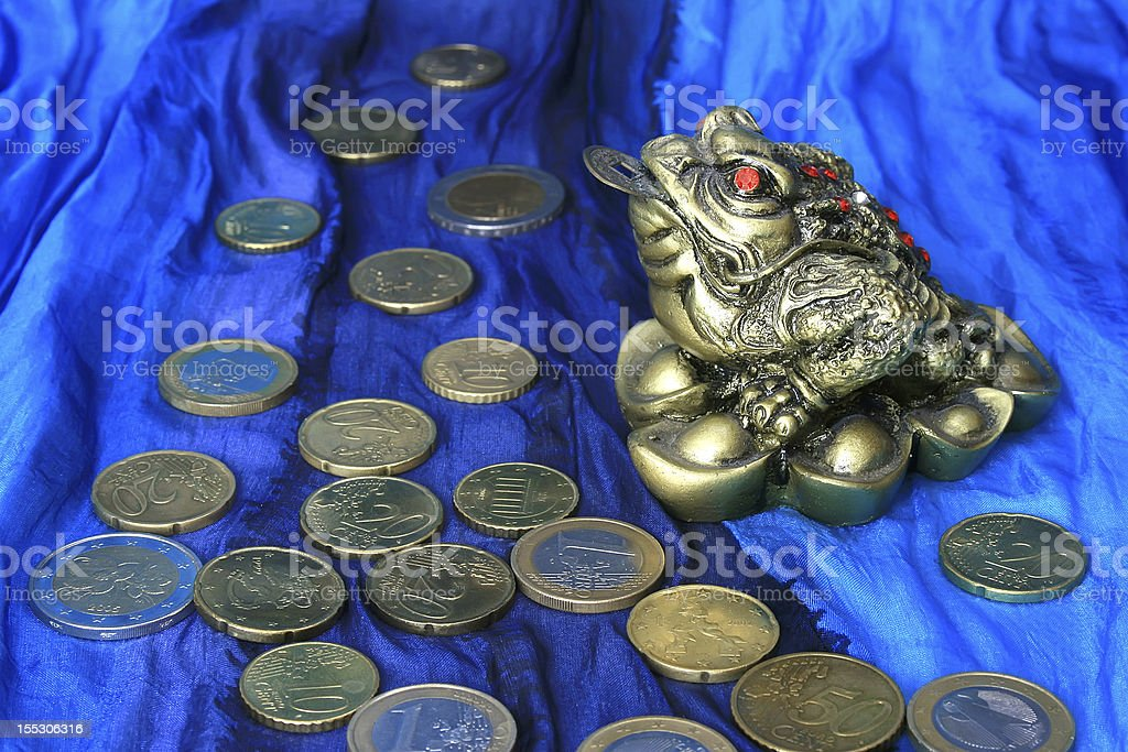 Chinese frog with coins. royalty-free stock photo