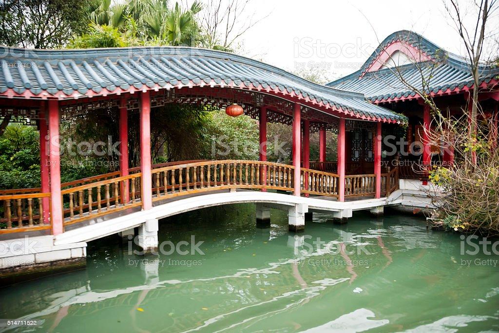 Chinese gallery bridge stock photo