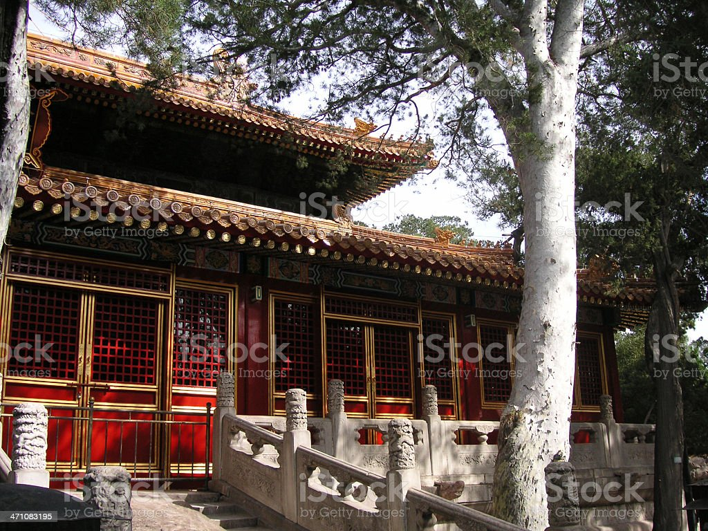 Chinese Garden and House stock photo