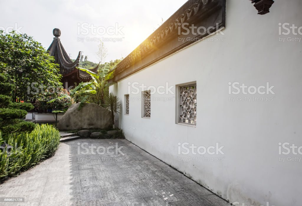Chinese garden n Zurich stock photo