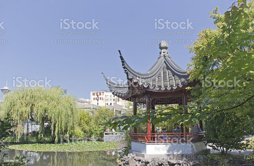 Chinese Garden with Pagoda in Vancouver stock photo