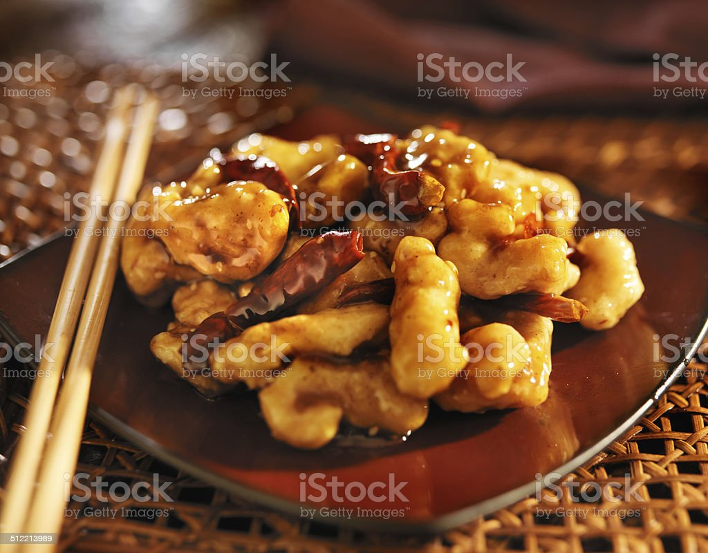 chinese general tso's chicken stock photo