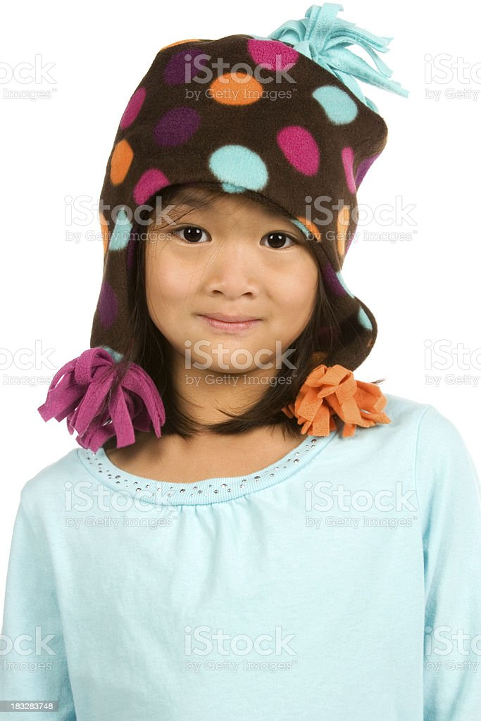 Chinese girl in blank shirt and dotted hat stock photo