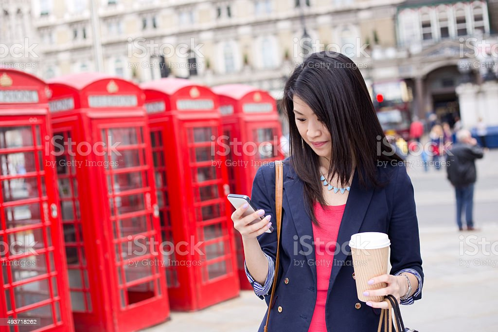 chinese girl in London stock photo