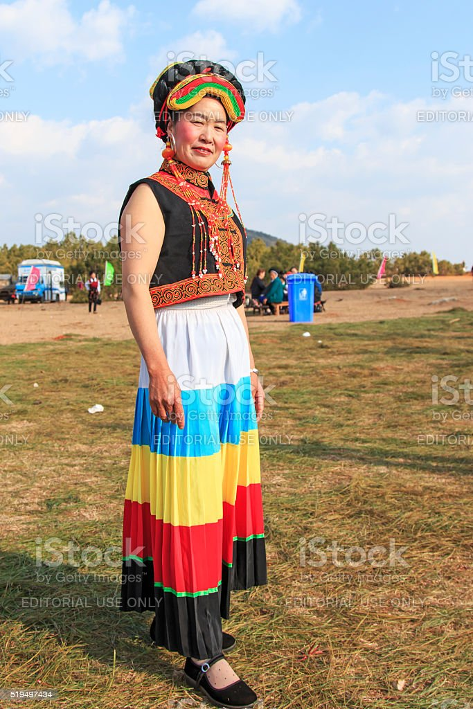 Chinese girl in traditional Miao clothing stock photo