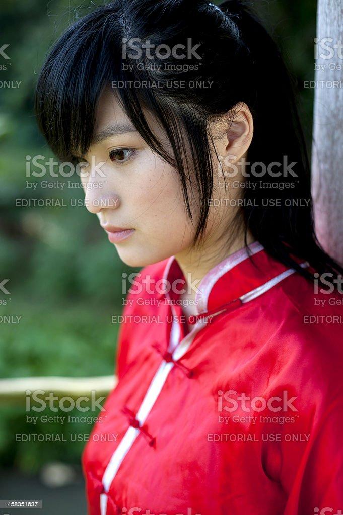 Chinese girl in Wushu costume stock photo