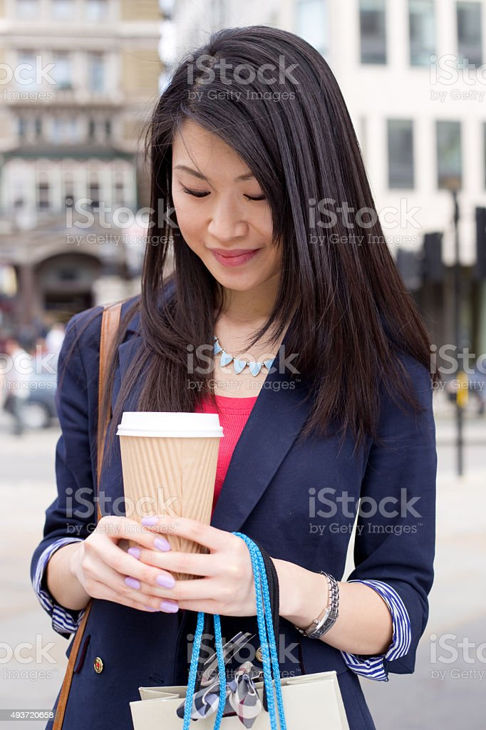 chinese girl with coffee royalty-free stock photo