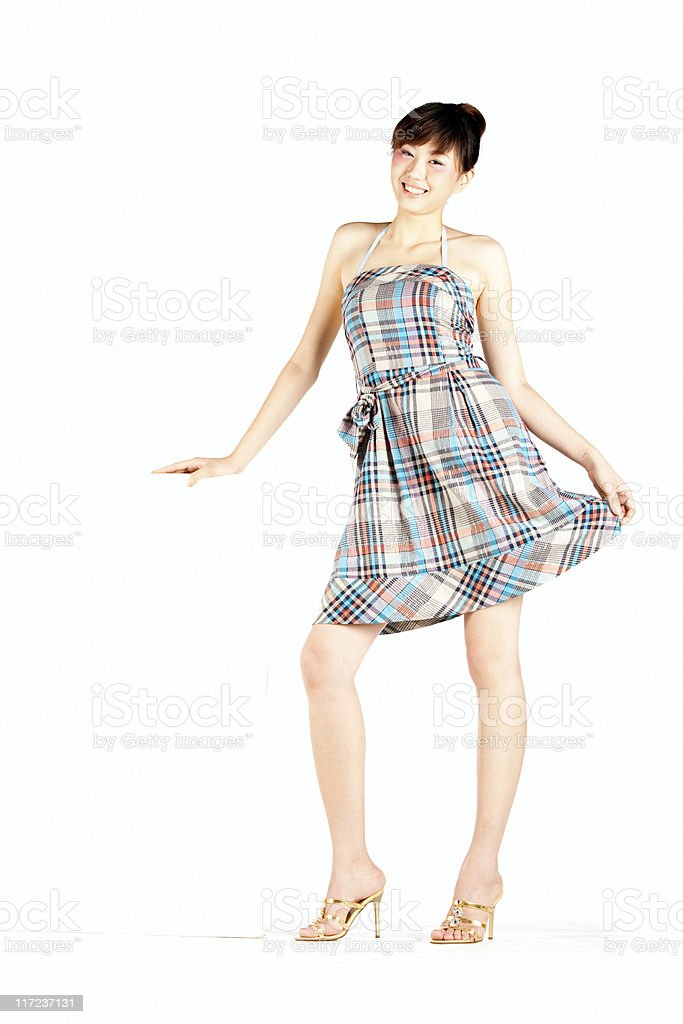 Chinese girl with white board royalty-free stock photo