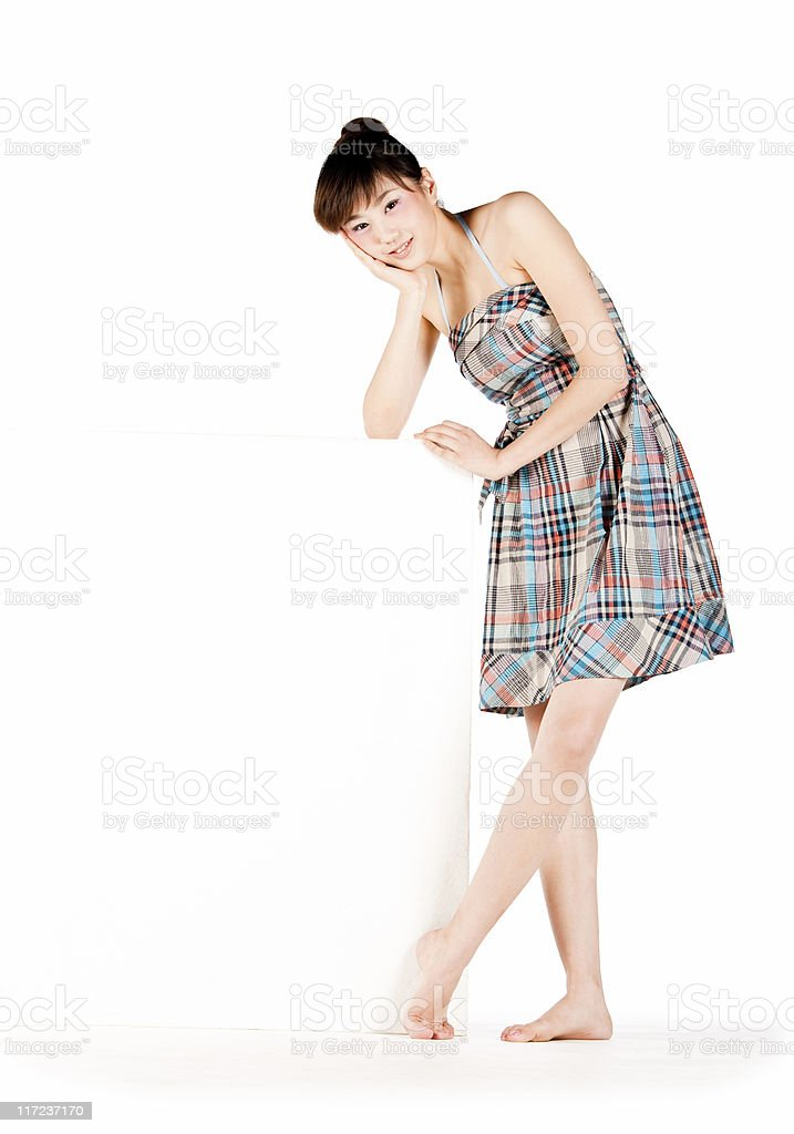 Chinese girl with white board stock photo