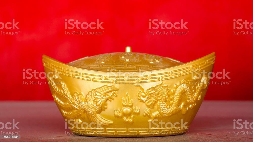 Chinese gold ingot stock photo