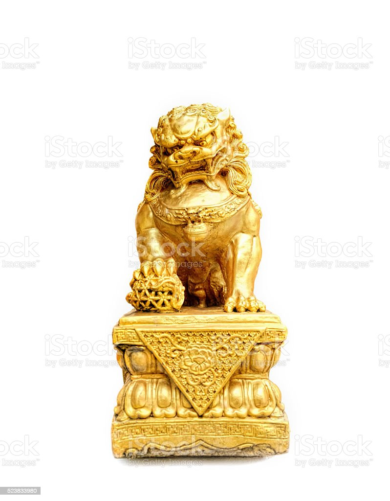 Chinese gold lion isolated on white background stock photo