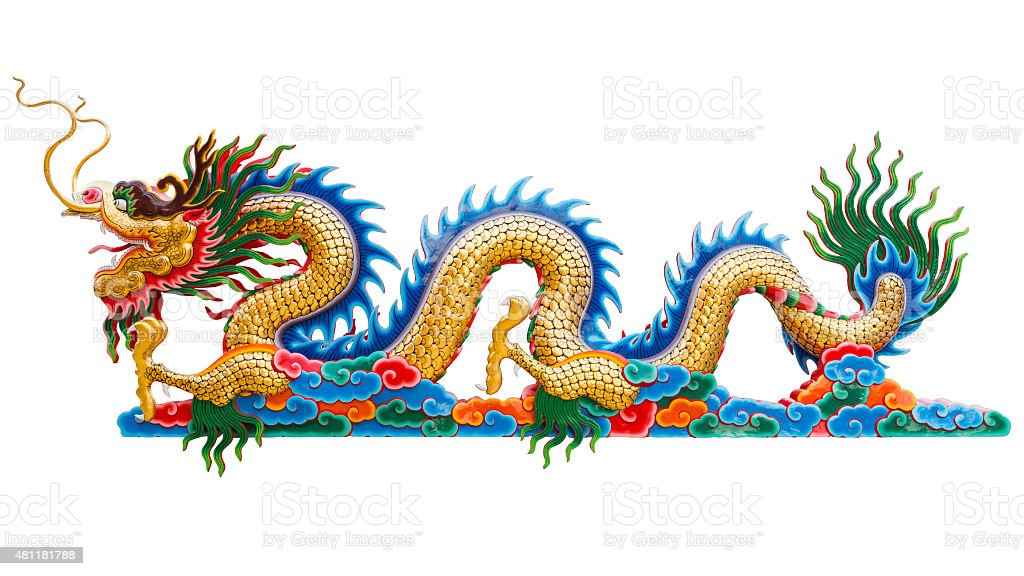 Chinese golden dragon statue isolate on white background. Clipping path. stock photo