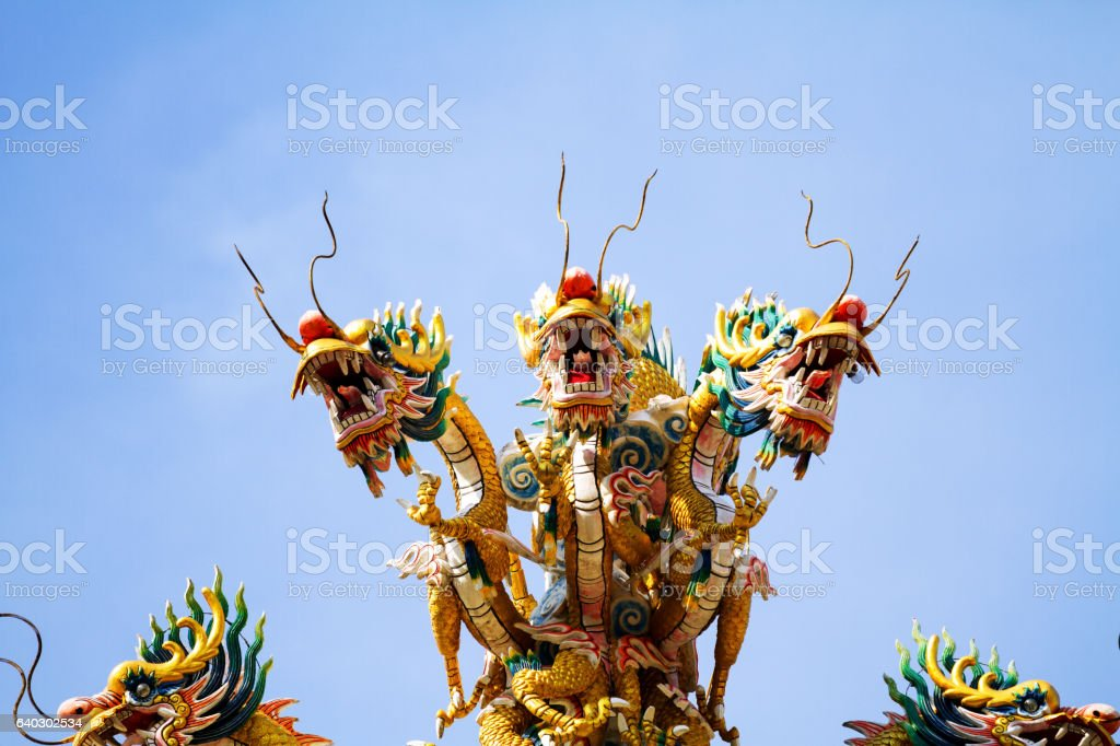 Chinese golden dragons stock photo