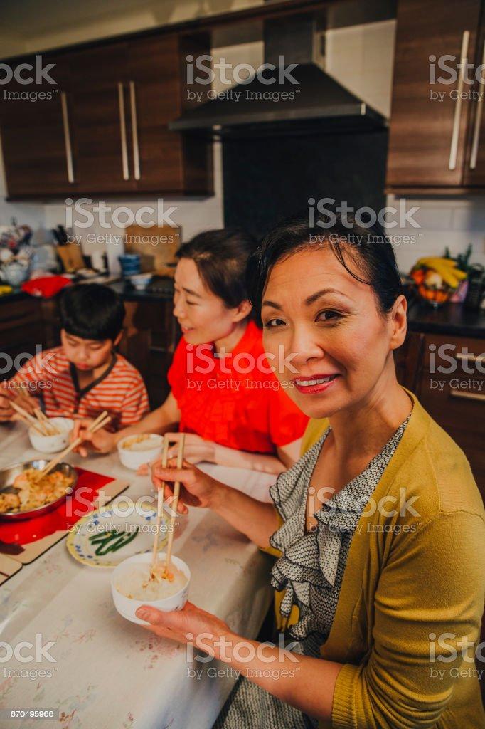 Chinese Grandma at Table stock photo