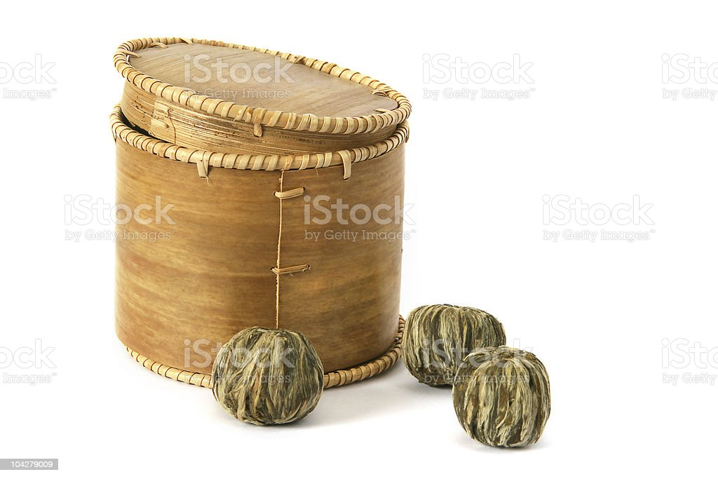 Chinese green tea and box royalty-free stock photo