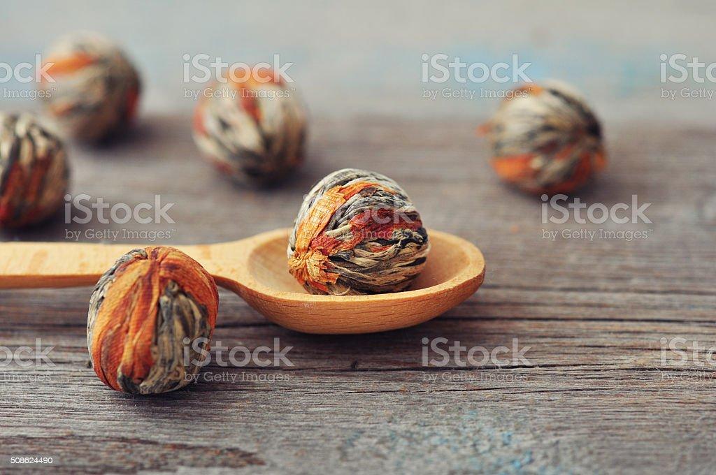 Chinese Green Tea Balls stock photo