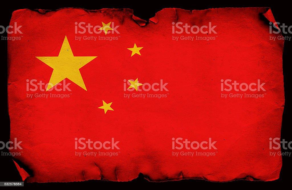 Chinese grunge old flag stock photo