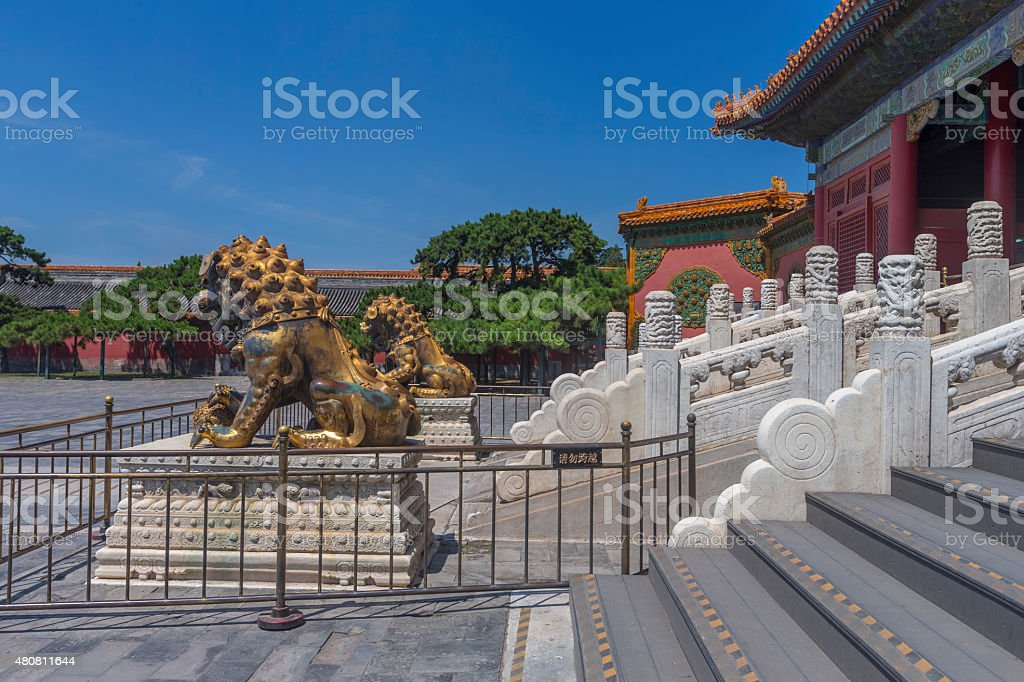 Chinese Guardian Lion in Forbidden City, Beijing stock photo