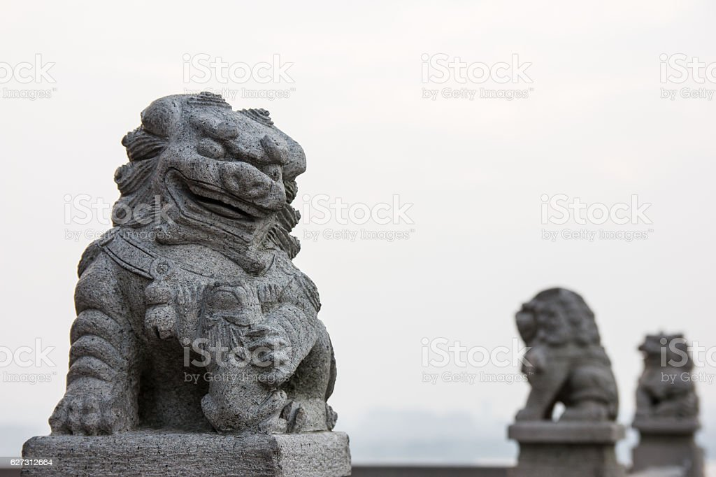 Chinese guardian lions stock photo