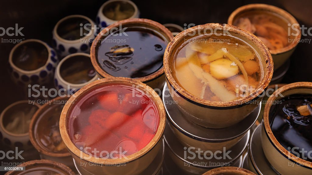 Chinese Herb Soup in Vietnam stock photo