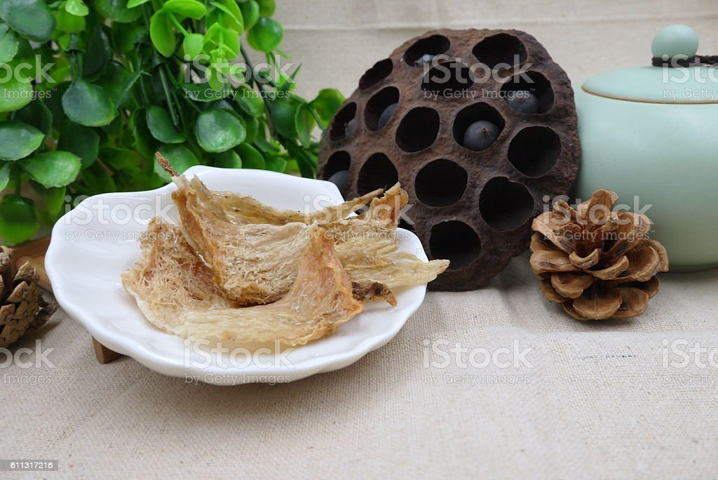 Chinese herbal drugs of lotus bean and dried salanganes or stock photo