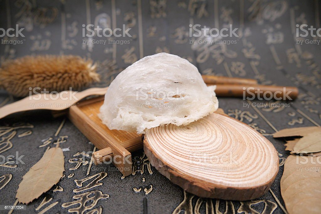 Chinese herbal drugs of salanganes or bird's nest and dried stock photo
