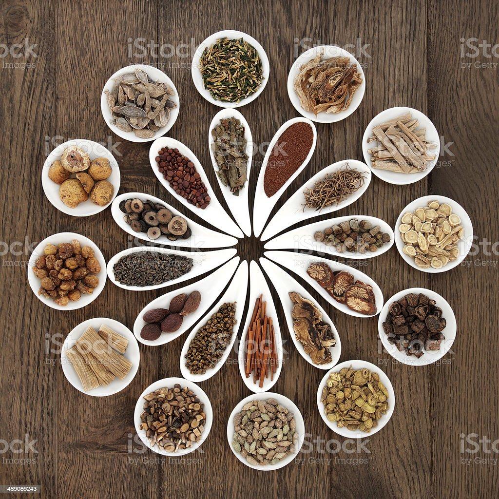 Chinese Herbal Medicine Platter stock photo