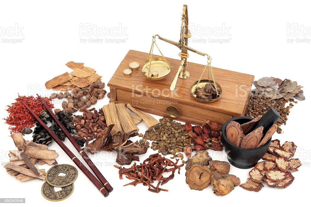 Chinese Herbal Medicine Selection stock photo