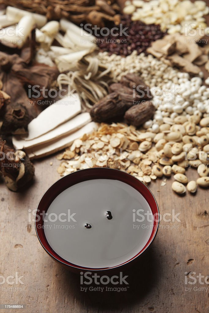 Chinese Herbal Medicine with Tonic Tea Vt royalty-free stock photo