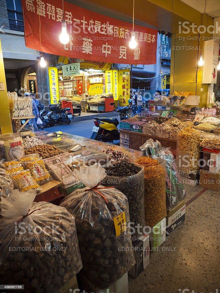 Chinese herbs and medicine shop, Taipei stock photo