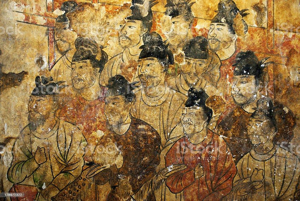 Chinese historic fresco stock photo