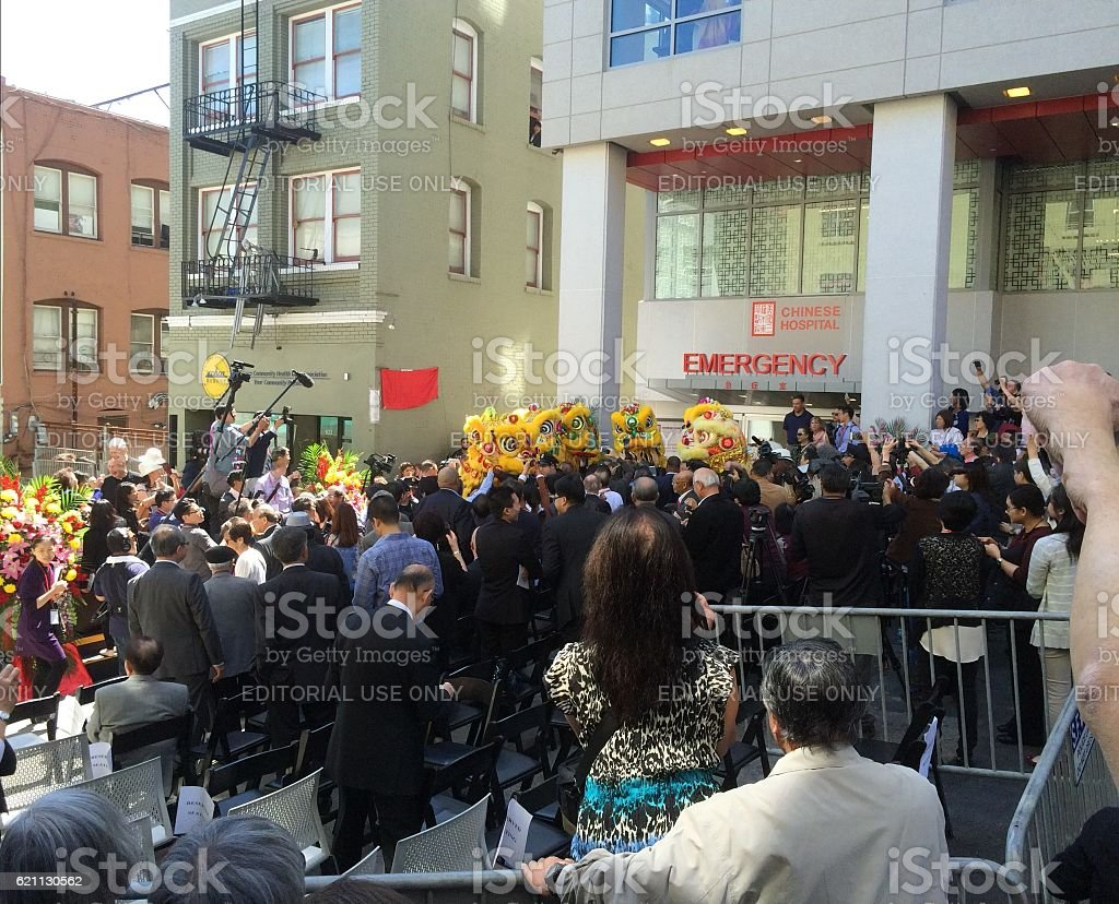 Chinese Hospital New Builing Open Ceremory in San Francisco Downtown stock photo