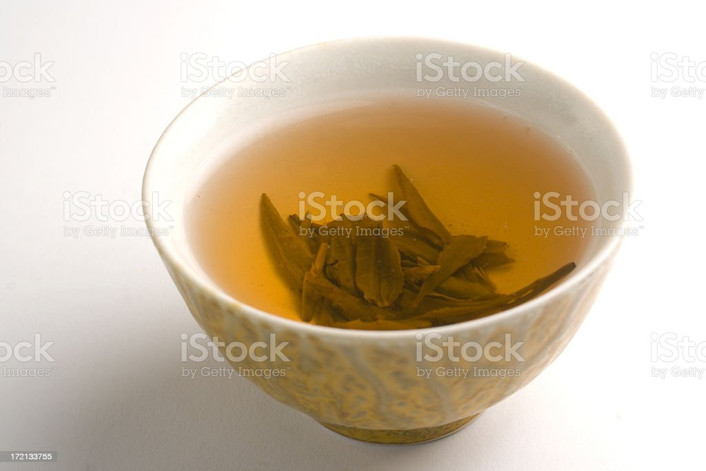 Chinese Hot Green Tea in Cup Isolated on White Background stock photo
