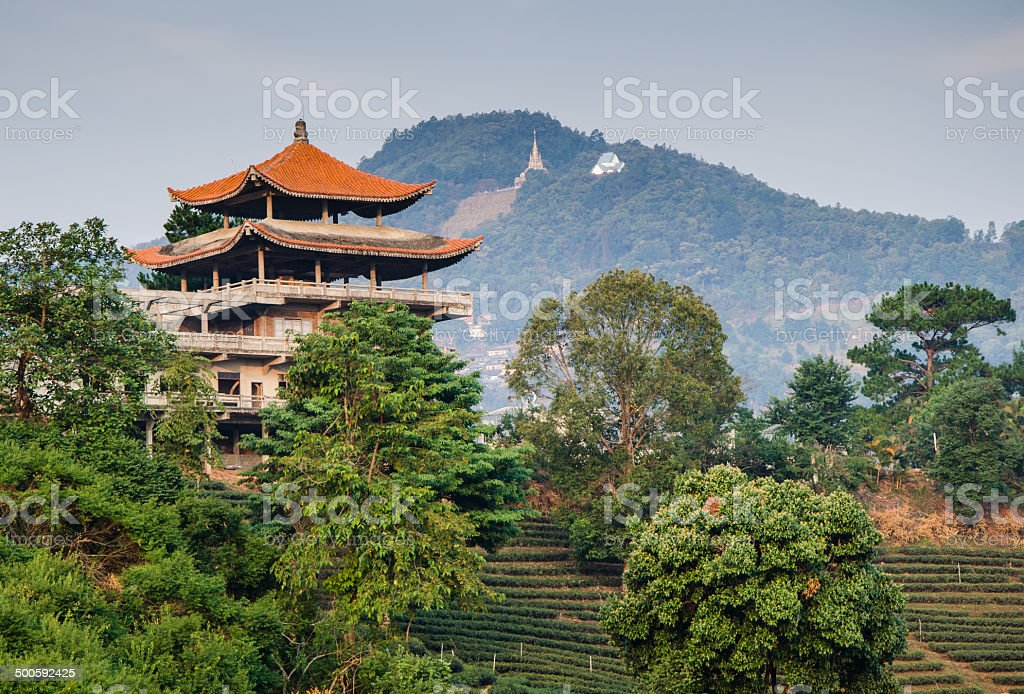 chinese house on the mountain stock photo