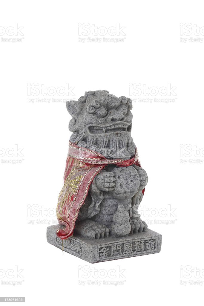 Chinese Imperial Lion Statue, Isolated on white background royalty-free stock photo