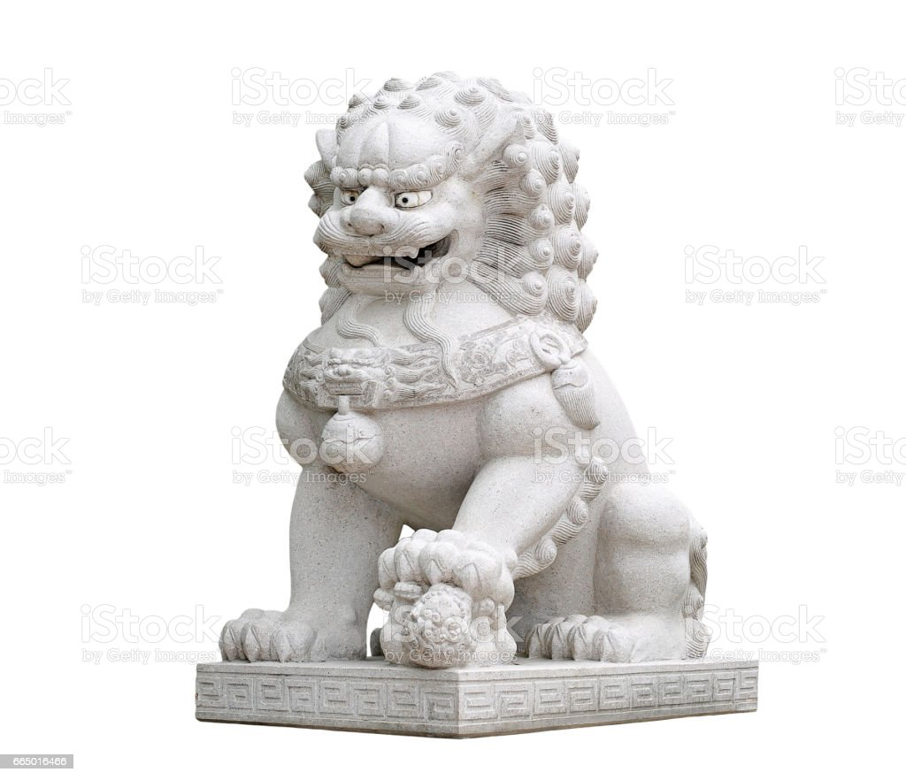 Chinese Imperial Lion Statue. stock photo