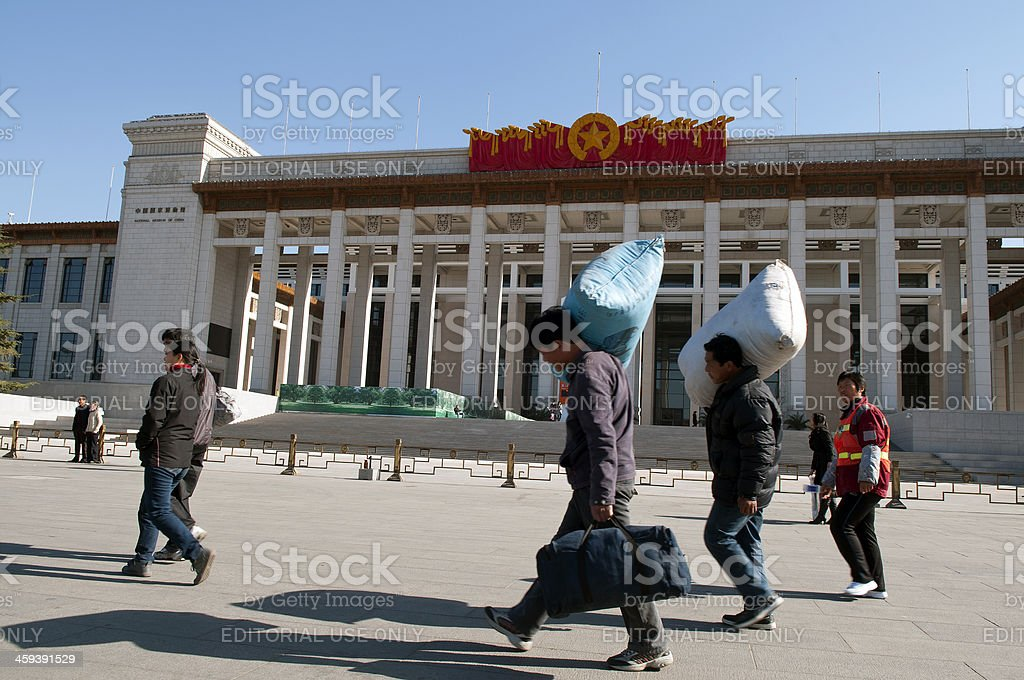 Chinese in front of National Museum Beijing royalty-free stock photo