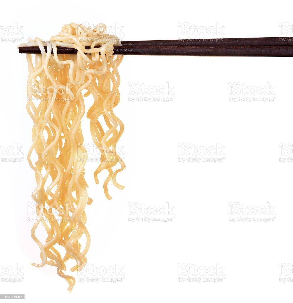 Chinese instant noodle and chopstick stock photo
