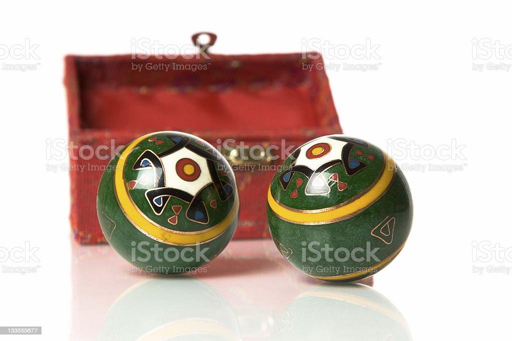Chinese Iron Bolls and box stock photo